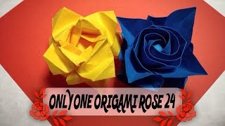 達人折りのバラの折り紙24 Only one origami rose24