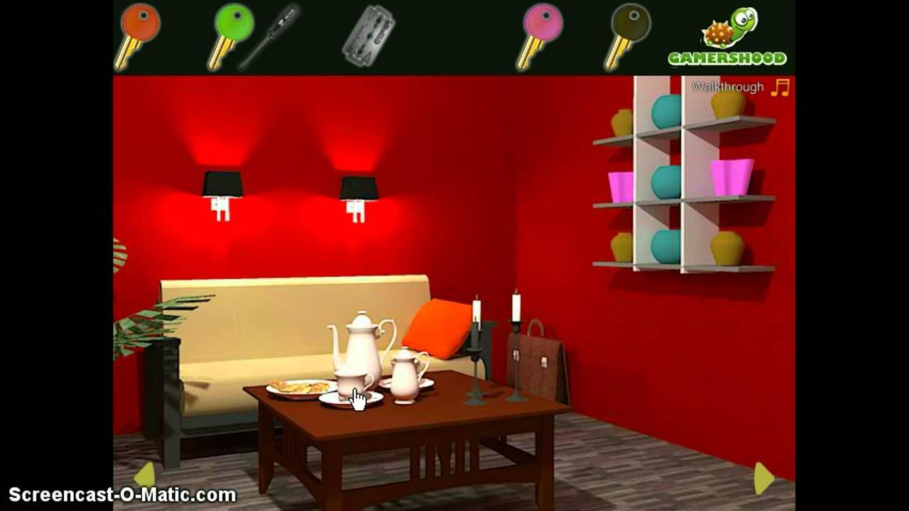 red sitting room escape game walkthrough