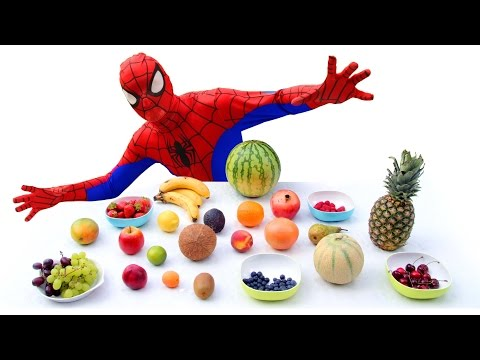 Learn Fruits With Spiderman | Funny Superhero Real Life Learning English Fruit Names