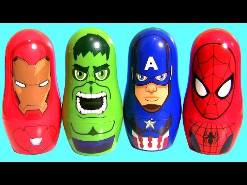 Thumbnail: IRON MAN vs. CAPTAIN AMERICA Civil War Stacking Cups Spiderman Black Panther Play-Doh Surprise Eggs
