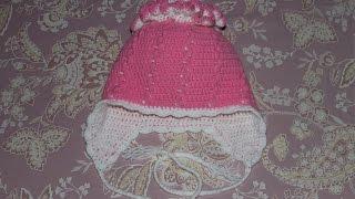 Шапочка крючком для девочки (Часть 1). Crochet hat for a little girl.