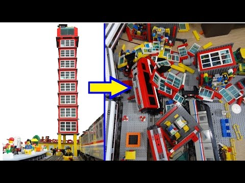 Hilarious Lego train - skyscraper crash