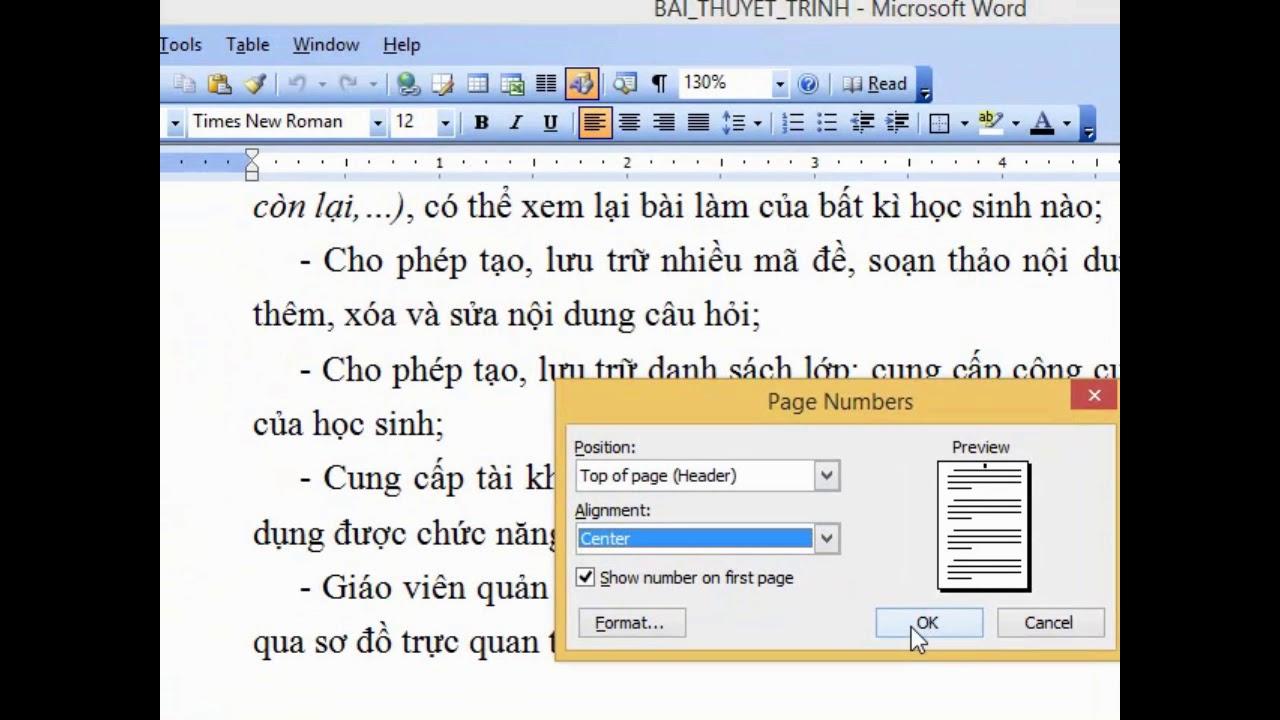 Cách đánh số trang văn bản trong word 2003
