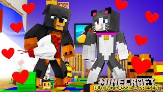 Minecraft - Donut the Dog Adventures -BUYING CASSIE THE CAT A PRESENT!!!!