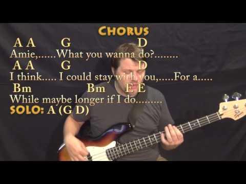 Amie (Pure Prairie League) Bass Guitar Cover Lesson in A with Chords/Lyrics
