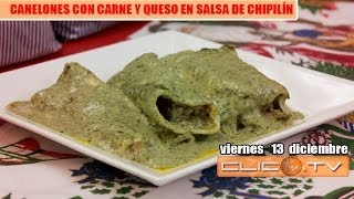 Canelones Con Carne Y Queso En Salsa De ChipilÍn.