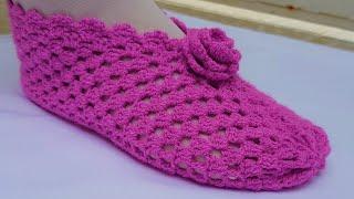 Pantuflas con cuadrados pequeños tejidas con gancho de crochet | Handmade Diy
