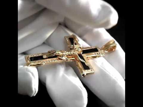 Эксклюзивный мужской крест из золота с чёрным ониксом и бриллиантами, арт. i2327.