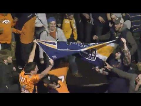 Super Bowl crowds celebrate in Denver