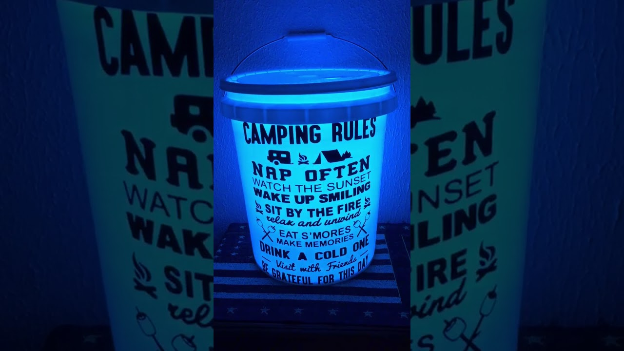 Led Light 5 Gallon Bucket With Camping Rules Svg Do It Yourself Project Directions In Comments You