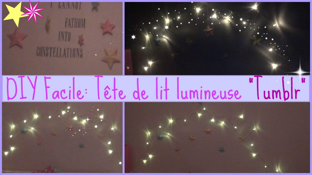 diy facile t te de lit lumineuse tumblr youtube. Black Bedroom Furniture Sets. Home Design Ideas