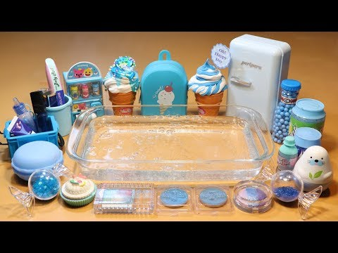 """Theme Series #19 """"BlueFood"""" Mixing Makeup And clay Into Clear Slime! """"BlueFood Silme"""""""