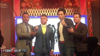 Canelo Alvarez & Julio Cesar Chavez Jr. pose off for cameras in Mexico City