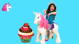 Sally Play with Ride on unicorn Horse toy