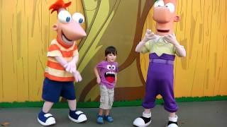 Phineas and Ferb meet Dawson at Disney's Hollywood Studios Christma...