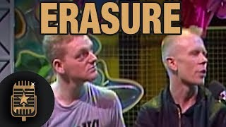 Interview with Erasure - Vince Clark and Andy Bell by TopPop's Leonie Sazias • Celebrity Interviews