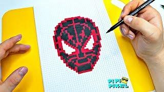 Человек-паук: Через вселенные ! РИСУНКИ ПО КЛЕТОЧКАМ ! PIXEL ART How to Draw Spiderman Spider-Verse