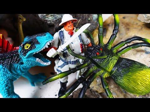ДИНОЗАВРЫ. Огромные ПАУКИ и НАСЕКОМЫЕ атакуют! Мультик про динозавров для детей - 1 серия Игрушки ТВ