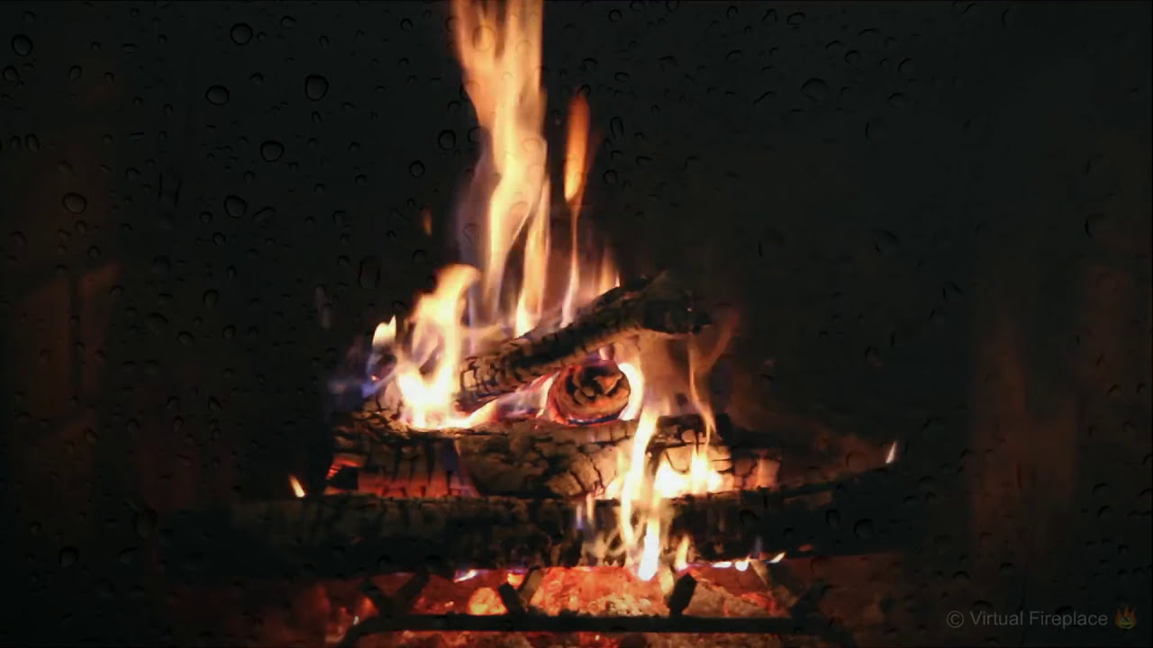 crackling fireplace with relaxing rain and howling wind hd youtube