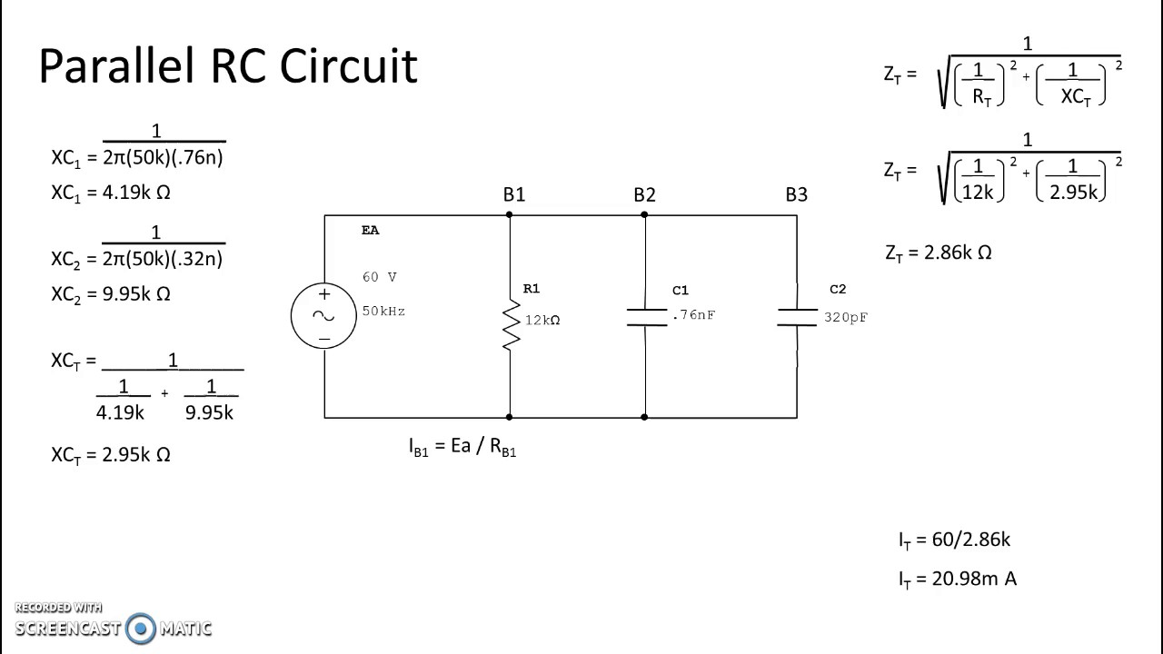 Parallel RC Circuit - Calculations