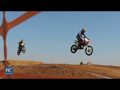 Exciting Motocross race in Africa
