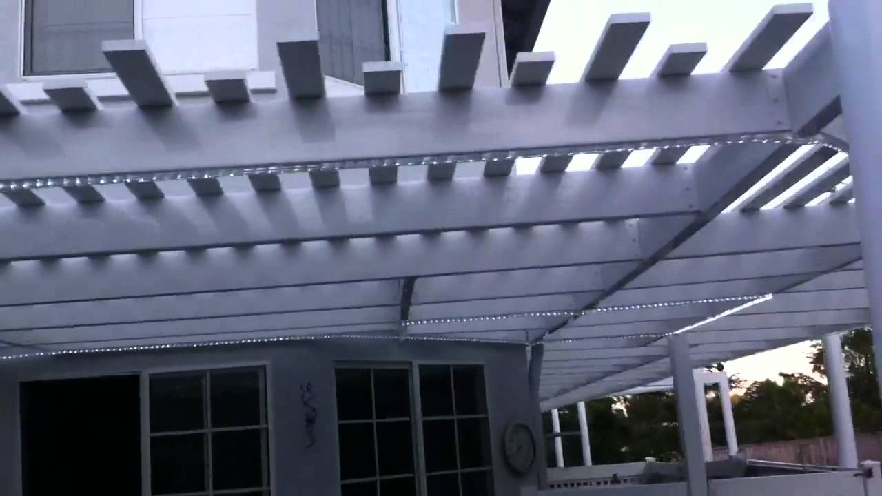 New patio cover with rope lights - YouTube