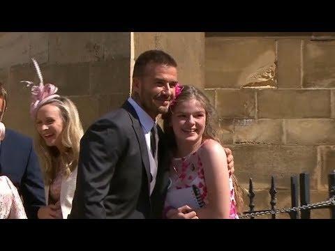 Manchester attack survivor receives hug from David Beckham at the royal wedding  ITV