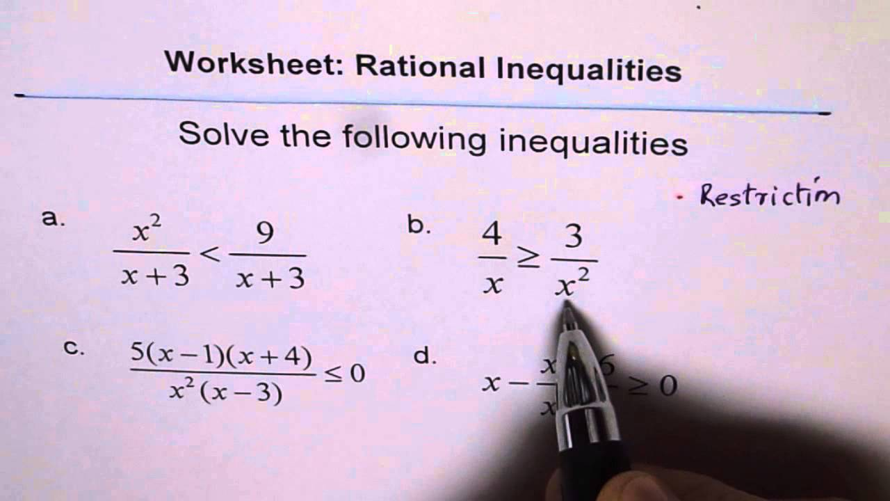 small resolution of Worksheet Rational Inequality - YouTube
