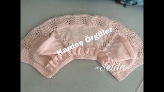 Yakası fırfırlı kız bebek yeleği/Knitting pattern/ ajurlu dalgalar modeli