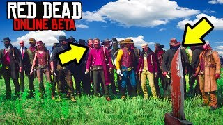 CHALLENGED 32 PLAYERS TO A KNIFE FIGHT in Red Dead Online! RDR2 Online Funny Moments!
