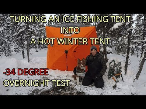 TURNING AN ICE TENT INTO A HOT TENT!!  |  SUB-ARCTIC OVERNIGHT TEST!!