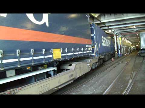 Shunting trailer train onto ferry part 1