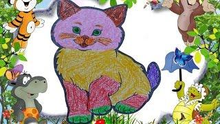 Bé tập tô màu con mèo đáng yêu