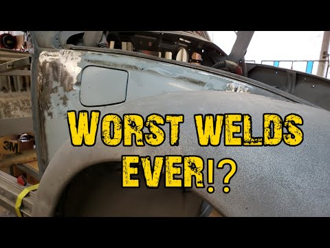 VW BUG RESTORATION FRONT QUARTER PANEL REPLACEMENT