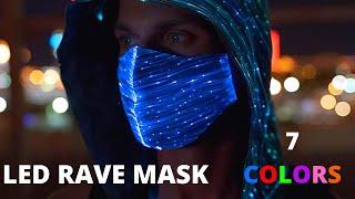 Fiber Optic Glow Up LED RAVE MASK For Music Festival Carnival