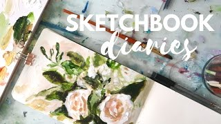 SKETCHBOOK DIARIES Acrylic Floral Painting Day 1 | Katie Jobling Art