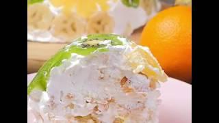 Быстрый рецепт фруктового торта | Торт на сливках с фруктами
