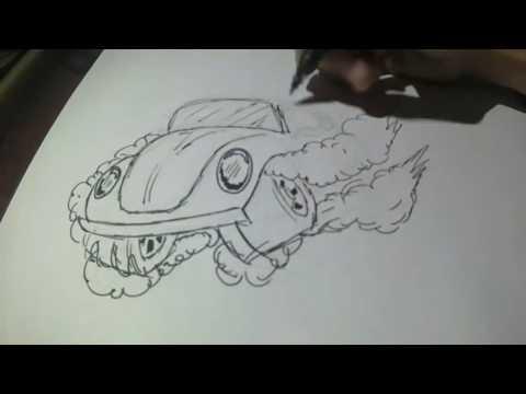 Dibujando un Vocho / Drawing a Beettle sedan Volkswagen vbochido