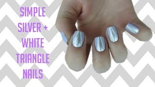 Simple Silver and White Triangle Nails ➳