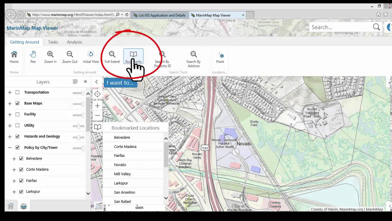 Marin Map Viewer - The Navigation Tab, Home and Navigation Groups (2 ...