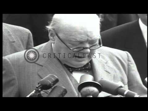 Prime Minister Winston Churchill and  Sir Anthony Eden arrive at  Washington Nati...HD Stock Footage