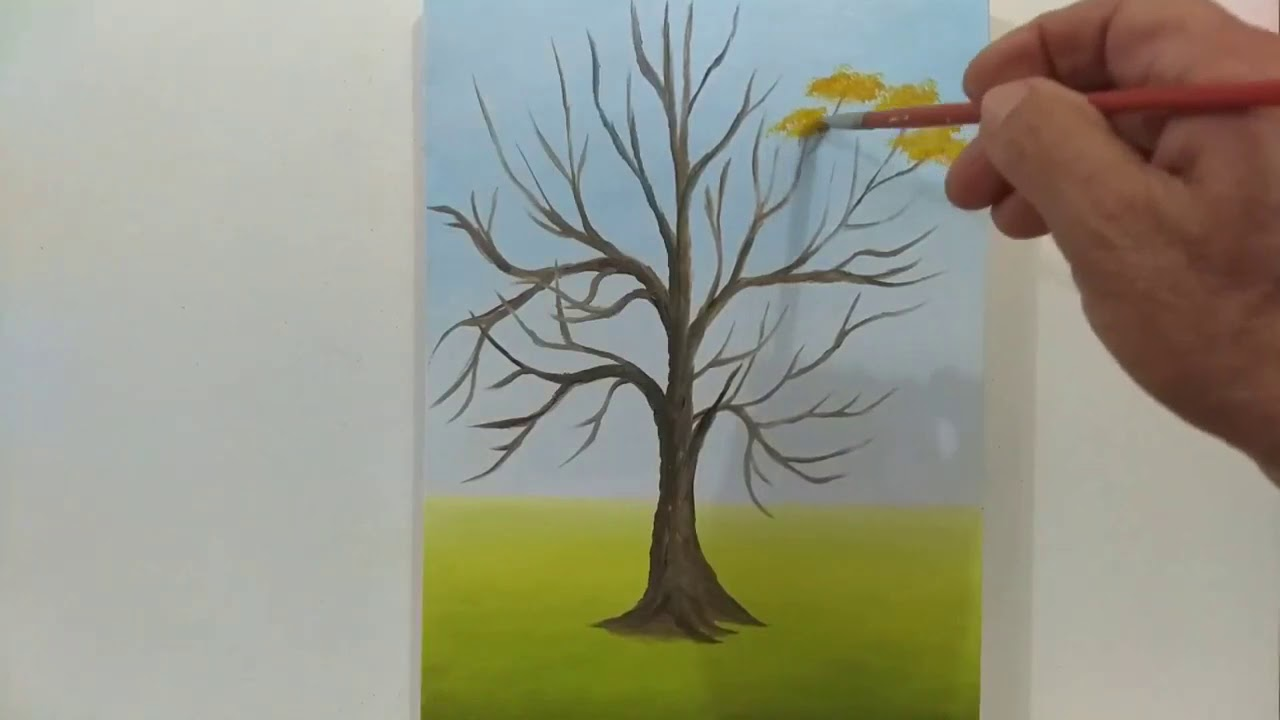 Pintura a óleo em tela Paisagem com Ipê Amarelo.