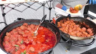 Meatballs Bright Coloured and Yummy Seen in London. Street Food at Canary Wharf