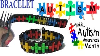 AUTISM AWARENESS MONTH. How to make autism bracelet with rubber bands and beads without a loom.