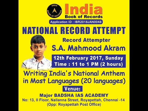 Writing India's National Anthem in Most Languages