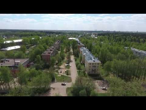 Город Ногинск, район Полигон (ул. Ильича, ул. Чапаева, Рузинский проезд) с воздуха. Россия.