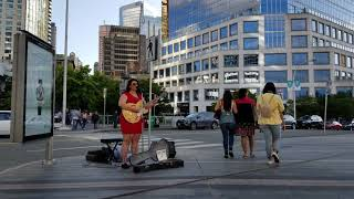"Vancouver STREET MUSICIAN: BABE COAL ENTERTAINS WITH ""HELLO"" (Take 2) & other songs at Canada Place"