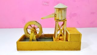 dIY:- Popsicle Stick WaterMill | water fountain | table top Water fountain | ( Creative Ushar ) 2019