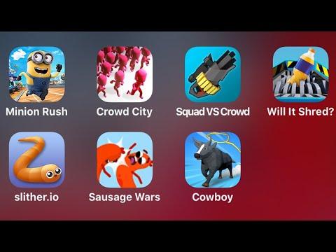 Minion Rush, Crowd City, Squad Vs Crowd, Will It Shred, Slither.io, Sausage Wars, Cowboy