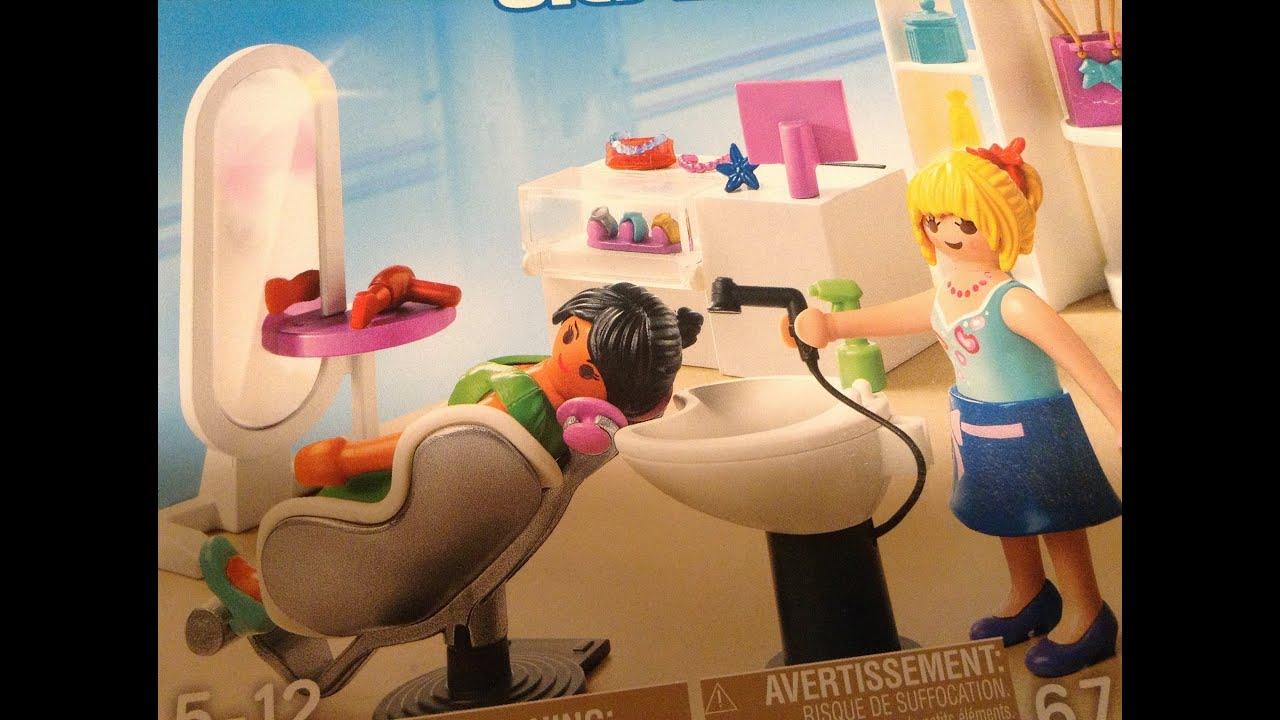 Playmobil city life 5487 beauty hair salon youtube for Salon playmobil